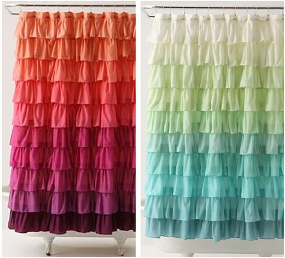 The Little Green Bean DIY Ruffle Shower Curtain