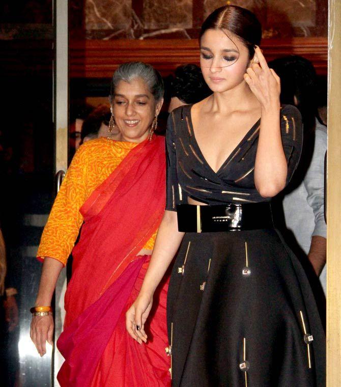 Alia Bhatt with Ratna Pathak Shah at 'Kapoor and Sons' success bash. #Bollywood #Fashion #Style #Beauty #Hot