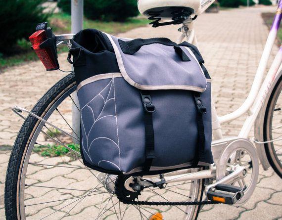 Grey  Black  Pannier Bag  Leaf Pannier bag  Bicycle by LeaflingoOo, $88.00