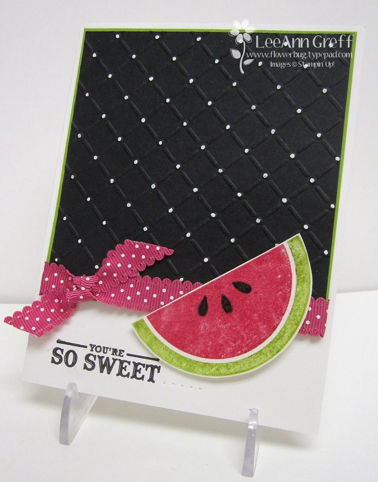 I've seen this lattice embossing with the white dot at each intersection in several cards now, very cute idea to jazz up a simple card!