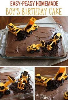 Easy, DIY boy's birthday cake with diggers. Perfect cake idea for a construction party. Super cheap and easy to make too! More