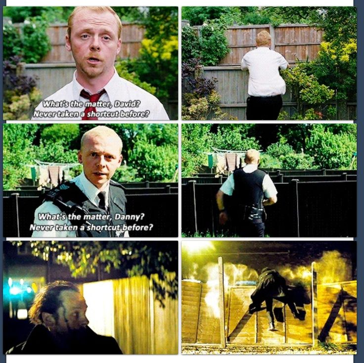 The running fence bit in Shaun of the Dead, Hot Fuzz, and The World's End.