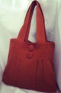 Rust Coloured Hemp Big Button Shoulder bag /Handbag - by highteavintage on madeit