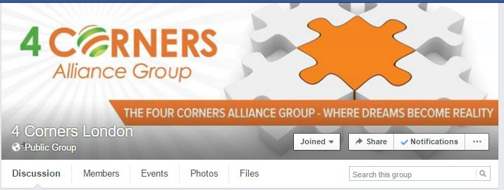 4 Corner's facbook Group London https://www.facebook.com/groups/4cornerslondon/