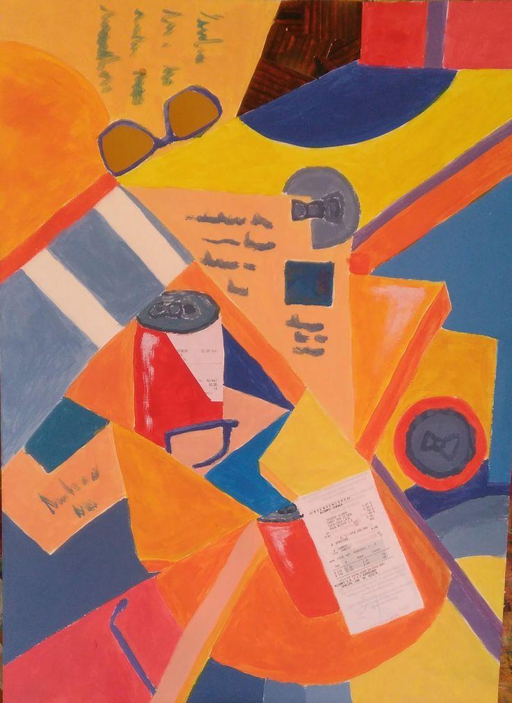 Acrílico sobre papel, cuadro cubista collage