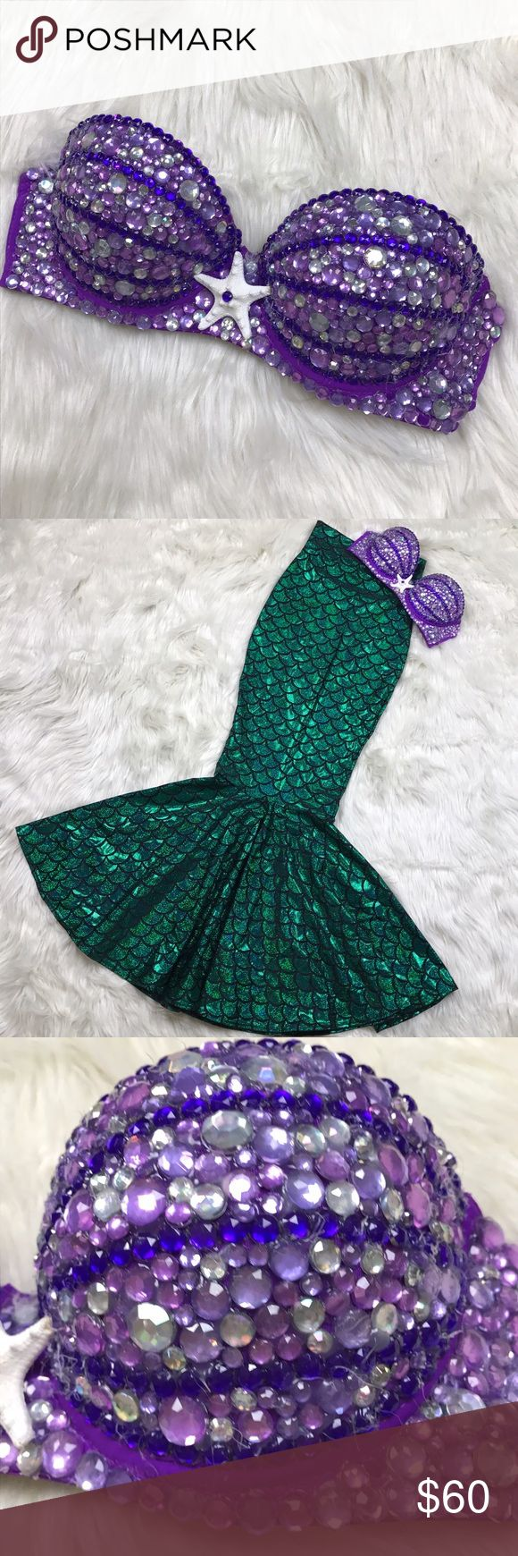 Mermaid Rave Festival EDC Bra Strapless Push Up Handmade. Some minor hot glue in-between the jewels. Straps are included without embellishments. Intimates & Sleepwear Bras