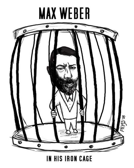"""""""Max Weber in his iron cage""""    [click on this image to find a short clip on Weber's notion of the iron cage]"""