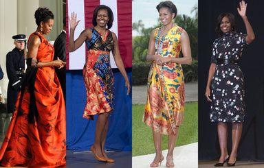 写真特集ミシェルオバマ夫人鮮やかで大胆なプリント柄ファッション