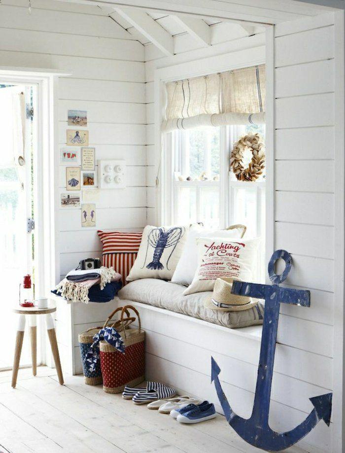 coussins dcoratifs de style marin couloir de style marin chambre lumineuse maison bord - Chambre Garcon Bord De Mer