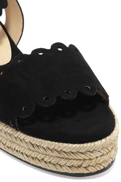 b4dba4e00a3 Castañer - Ana Scalloped Suede Espadrille Platform Sandals - Black ...