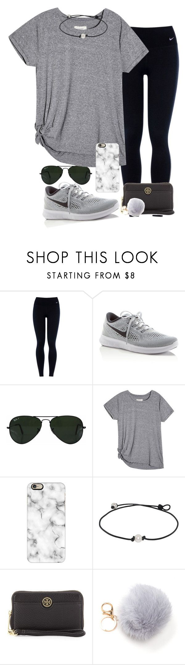 """I really struggle with layouts"" by valerienwashington ❤ liked on Polyvore featuring NIKE, Ray-Ban, Casetify and Tory Burch"