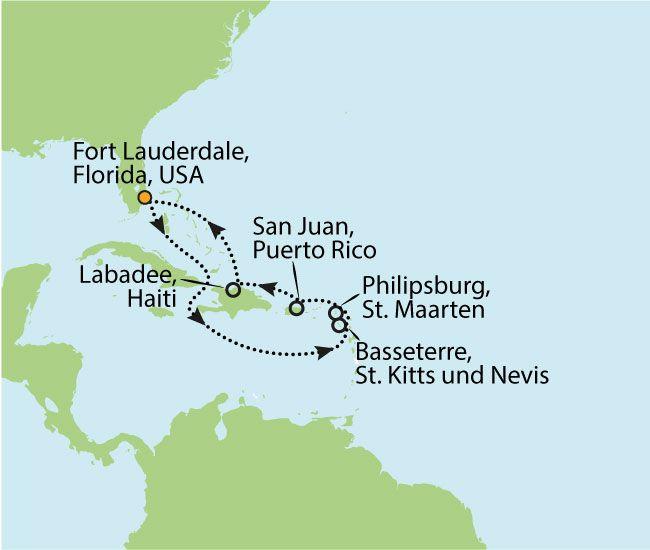 ROYAL CARIBBEAN FREEDOM OF THE SEAS – TRAUMHAFTE KARIBIKKREUZFAHRT MIT MIAMI TRIP  11 Nächte Zielgebiet: USA - ST. KITTS - ST. MAARTEN - PUERTO RICO - HAITI - USA