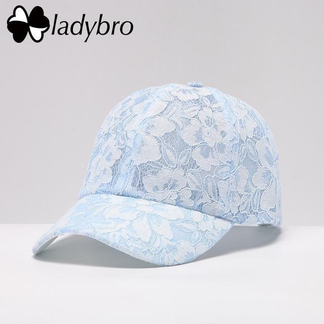 e2f660b4e98 Ladybro New Women Hat Cap Lace Adjustable Casquet Female Baseball Cap Summer  Hip Hop Dad Hat Cute Bone Fashion Pink Flower Cap