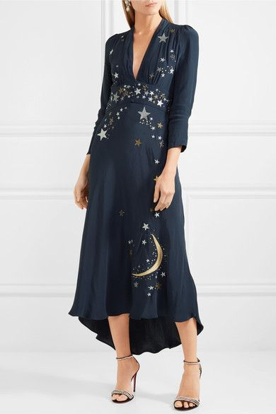 0ace9eaf RIXO London | Margo embellished embroidered georgette midi dress |  NET-A-PORTER.COM