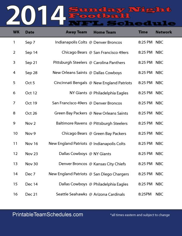 NFL Sunday Night Football Schedule 2014