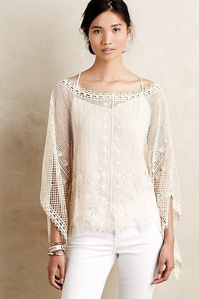 NEW Anthropologie cream lace poncho size:XS-S/UK 8-10 perfect festival wear