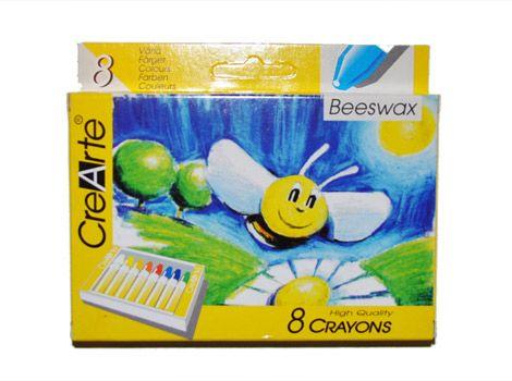 Mehiläisvahaliitu 8 väriä. Vahaliitu on vedenkestävä (tärpättiliukoinen)  Vahaliiduilla voi piirtää kuvan, jonka päälle voi maalata peite- tai vesiväreillä – piirros jää näkyviin sillä rasvainen liitu hylkii vesiliukoista väriä.
