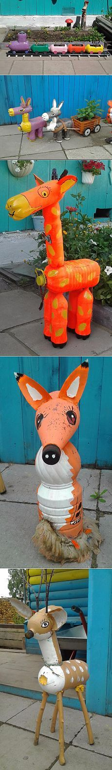 These are so cute. And made from assorted plastic bottles.