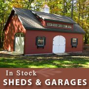 In Stock Storage Sheds for Sale (New York, Pennsylvania), Garages, Horse Barns, Cabins, Chicken Coops, Greenhouses, Gazebos - Wood-Tex Products