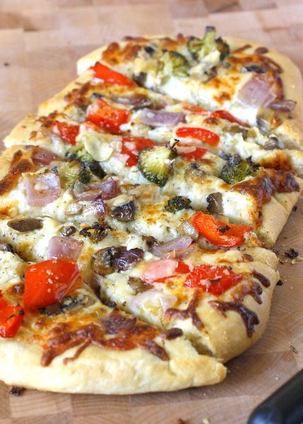 Roasted Vegetable Flatbread - chewy flatbread crust topped with roasted vegetables and two types of cheese!