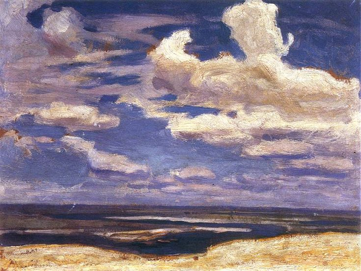 "huariqueje: "" The Dnieper River , - Jan Stanisławski ,1903-04. Polish, 1860-1907 - Clouds over the Dnieper , 1903 Oil on cardboard. 23.8 x 32.2 cm. National Museum, Krakow. - Dnieper. 1904. Oil on..."