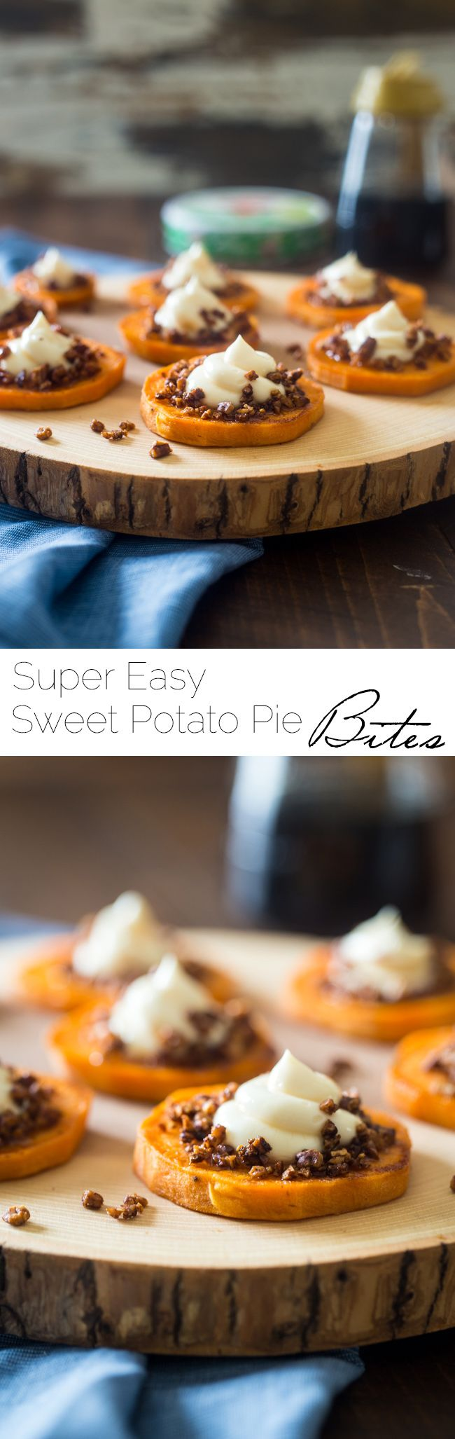 4 Ingredient Sweet Potato Pie Bites - These gluten free maple roasted sweet potato pie bites are a quick and easy snack or appetizer that tastes just like sweet potato pie, but are a whole easier to make! Perfect for Thanksgiving!   FoodFaithFitness.com   @FoodFaithFit #spon by @thelaughingcow