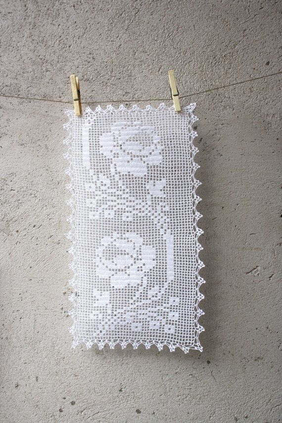 White filet crochet table doily or runner rustic or by aCasaMia, €40.00
