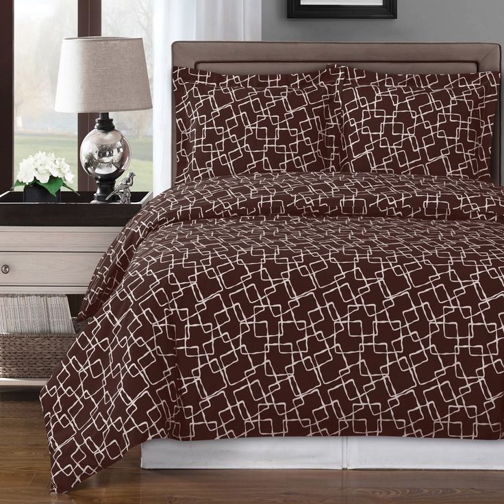 Contemporary Duvet Cover Set, Purple, Grey or Brown