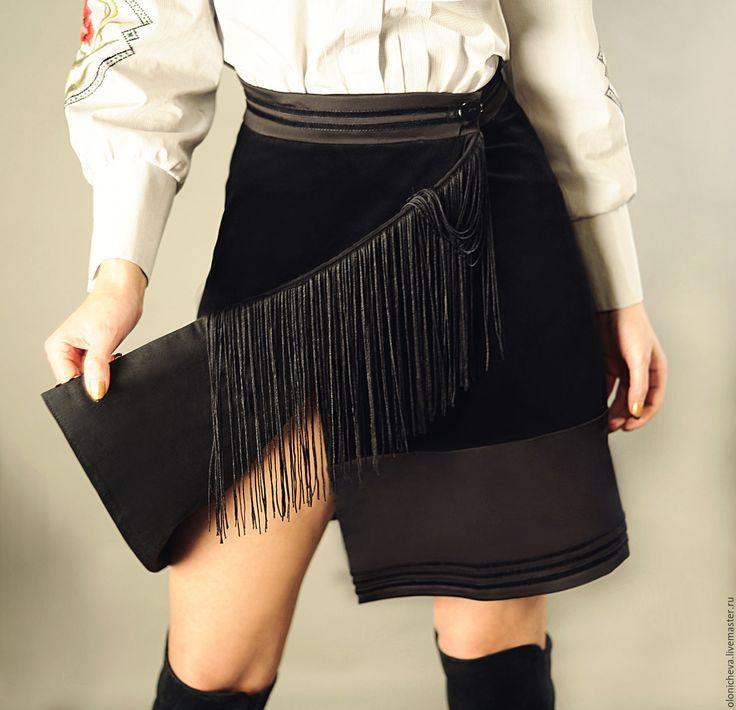 """Купить Стильная черная юбка с бахромой """"Ночная прогулка"""" - черный, юбка черная, бахрома"""