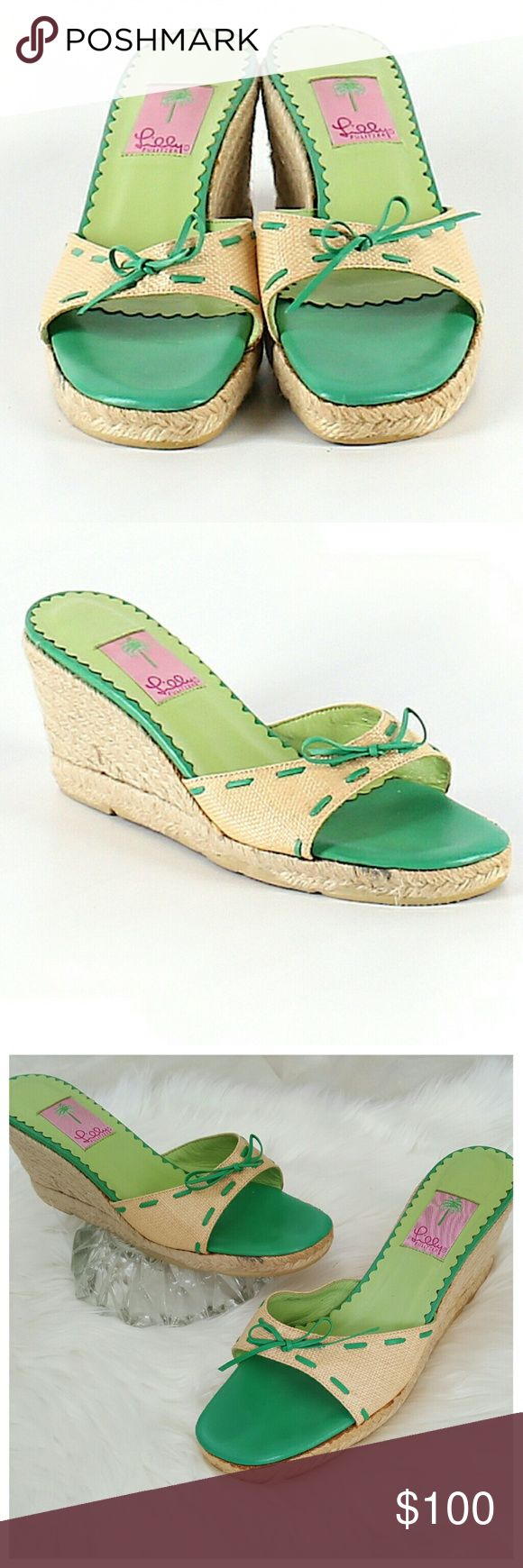 Lilly Pulitzer Espadrille Green Wedges 9.5 Espadrille, slip-on Wedges by Lilly Pulitzer. Size 9.5. Green & light tan with green tie bow detail. Overall very good condition with minor wear, as shown in pics. Lilly Pulitzer Shoes Espadrilles