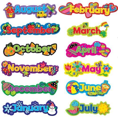 El calendario: enero, febrero, marzo,abril,mayo. junio,julio,agosto,septiembre,octubre,noviembre, diciembre.