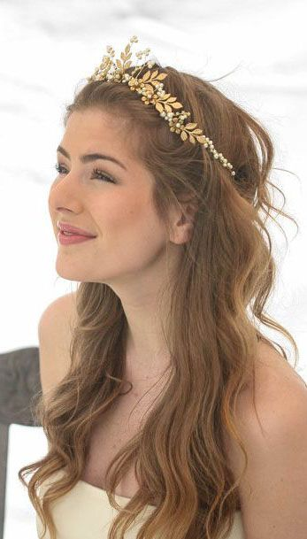 Gold Wedding Crown Woodland Queen Wedding Headpiece Leaves Flowers and Pearls