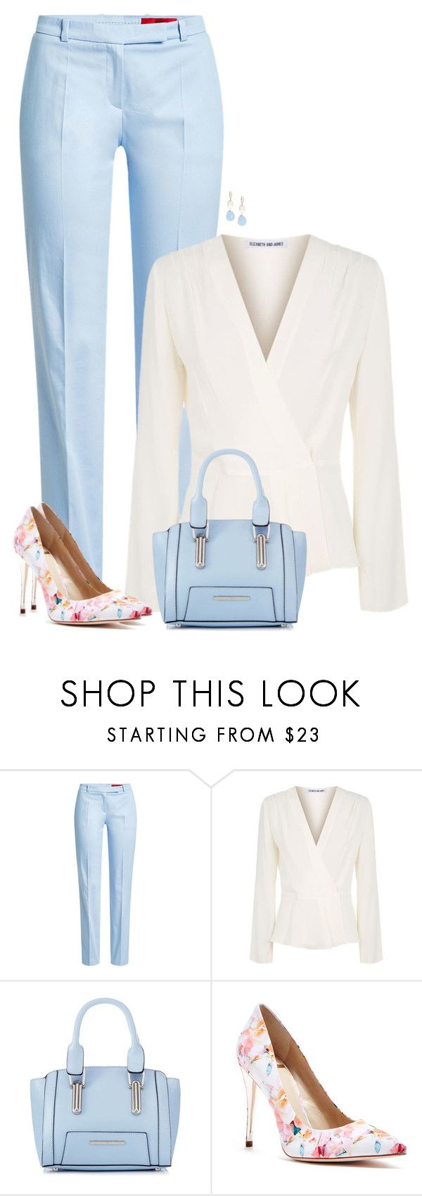 """""""Blue Trousers"""" by sherbear1974 ❤ liked on Polyvore featuring HUGO, Elizabeth and James, Red Herring, GUESS by Marciano and Saks Fifth Avenue"""
