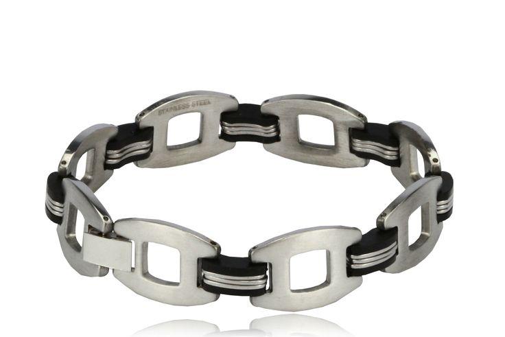Lucien Black and Silver Chain Link Bracelet for Men