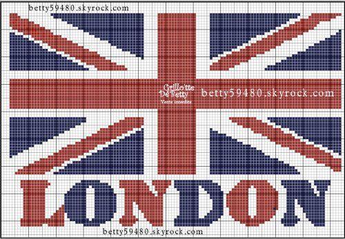 Pays - country - drapeau london - point de croix - cross stitch - Blog : http://broderiemimie44.canalblog.com/