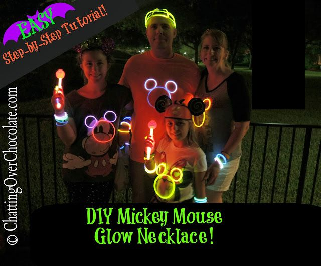 DIY Mickey Mouse Glow Necklaces! These are absolutely PERFECT for Mickey's Not So Scary Halloween Party!! very inexpensive, fun, and CUTE!