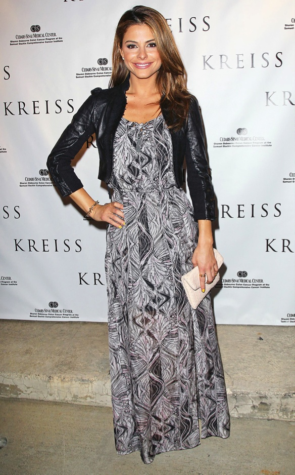 Maria Menunos in a leather jacket maxi dress combo