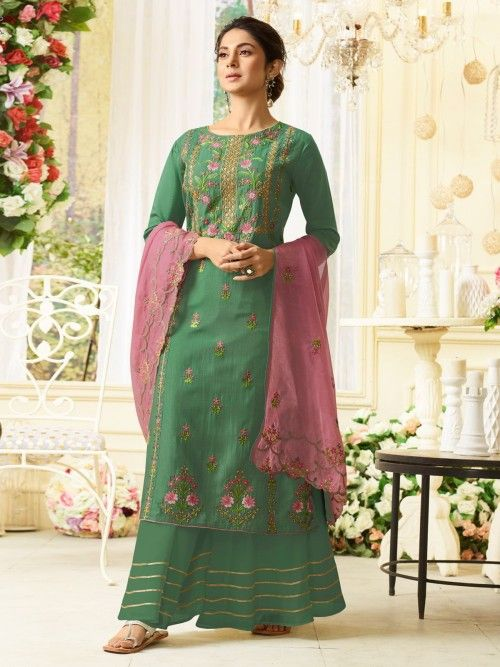 193763d40b Jennifer winget style green wedding palazzo suit online which is crafted  from silk fabric with exclusive resham and embroidery work.