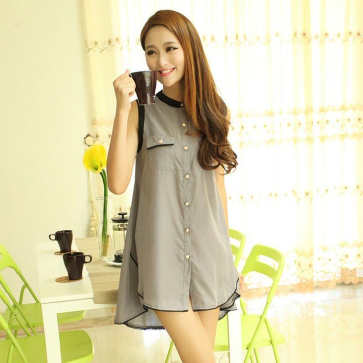 Новая летняя материнства платье нерегулярные кардиган без рукавов шифоновая блуза рубашка свободные большой размер рубашка - Taobao