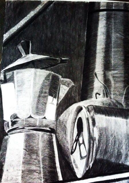 #art #arte #kunst #illustratie #illustration #illustrazione #charcoal #houtskool #stilleven #koffie #coffee #energy #blik #zwartwit #blackwhite #realisme #realism #realistic #schaduw #shadow