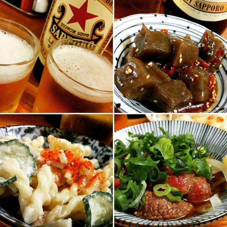 ピリ辛こんにゃく マカロニサラダ 牛肉たたき ( ω )っカンパイ #ビールクズ #かんぱい  #定番の #赤星瓶