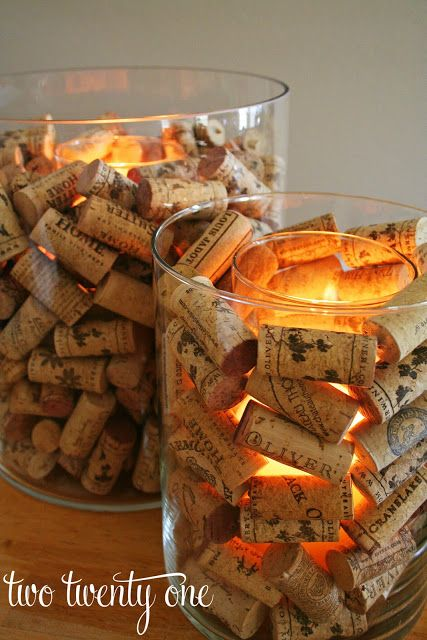 Two glass hurricanes and a whole bunch of corks come together for this glowy centerpiece. Get the tutorial at Two Twenty One.