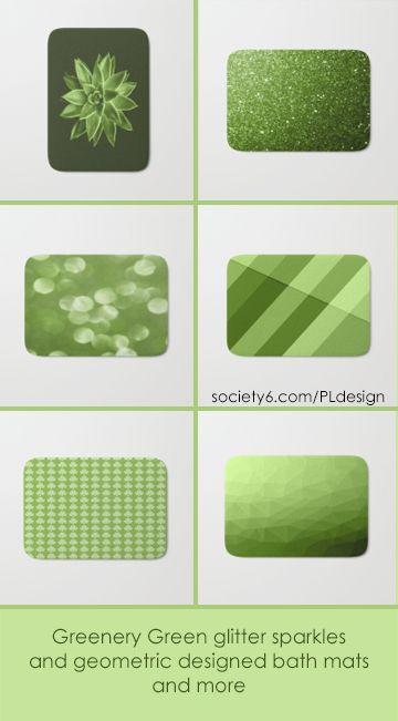 Greenery Green glitter sparkles, succulent, shamrocks and geometric designed bath mats by #PLdesign #greenery #sparkles #geometric #homedecor #bathroom