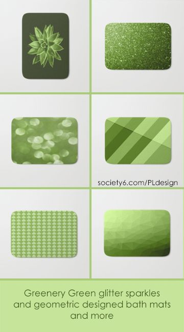 Greenery Green glitter sparkles, succulent, shamrocks and geometric designed bath mats by #PLdesign #greenery #sparkles #geometric #homedecor #bathroom