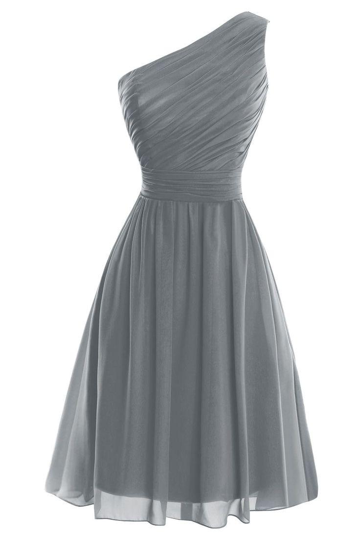 VP Women´s One Shoulder Knee Length Short Bridesmaid Prom Party Dress Steel Grey