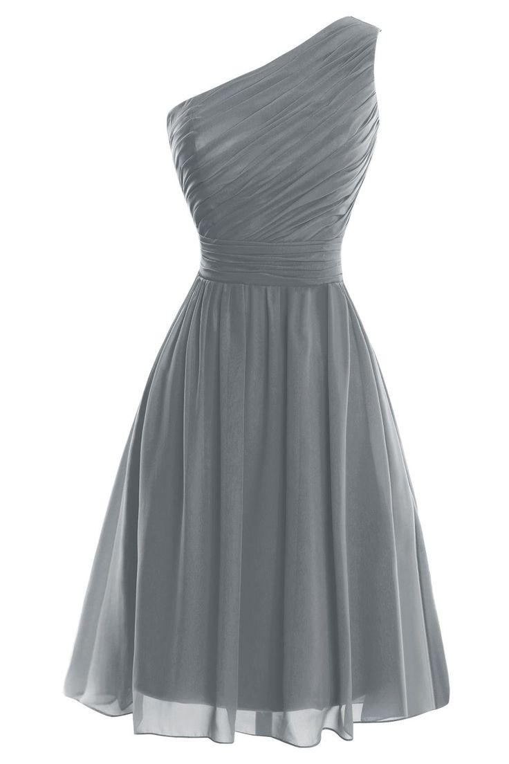 VP Women´s One Shoulder Knee Length Short Bridesmaid Prom Party Dress Steel Grey