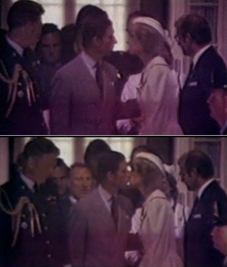 1983-06-15 Diana kisses Charles at the Royal Canadian Navy Dockyard in Halifax