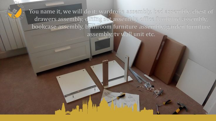 wardrobe assembly, bed assembly, chest of drawers assembly, dining set assembly, office furniture assembly, bookcase assembly, bathroom furniture assembly, garden furniture assembly,