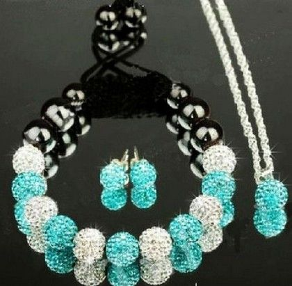 new Mixed multicolor micro pave CZ Disco Ball Beads Crystal Shamballa set Bracelet earring silver plated necklace women men