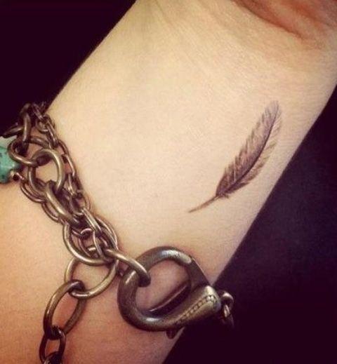 tatouage plume poignet femme, à retrouver sur http//www.tatouage,
